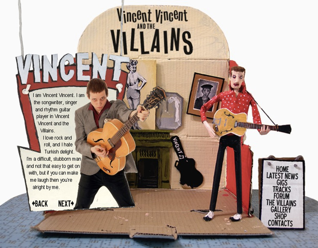 Vincent Vincent and the Villains website about Vincent page