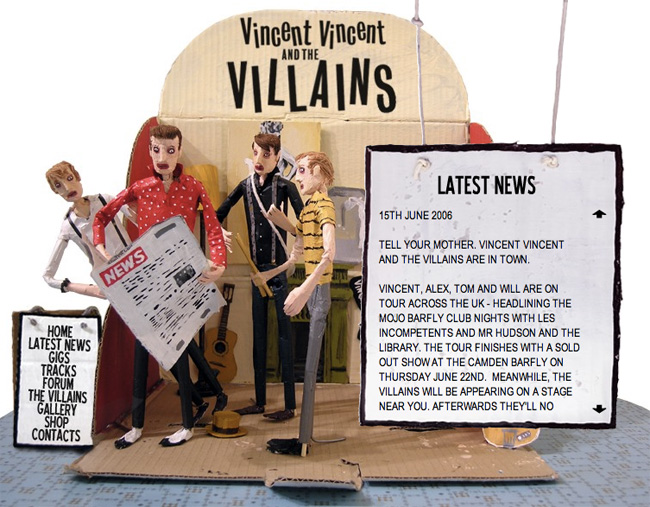 Vincent Vincent and the Villains website news page