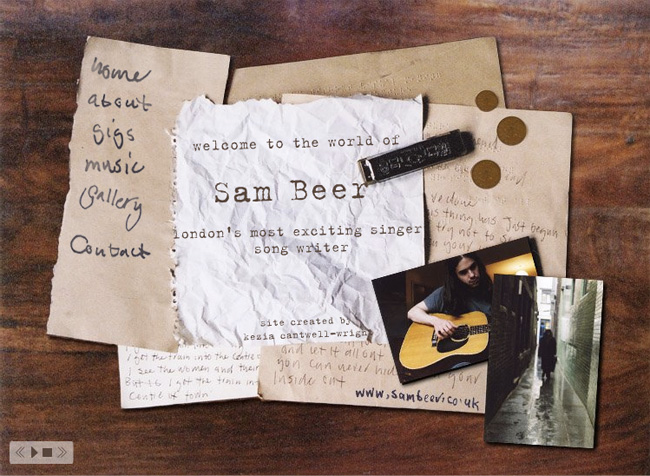 Sam Beer website homepage