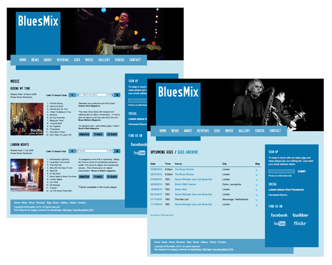 BluesMix website - music and gigs pages