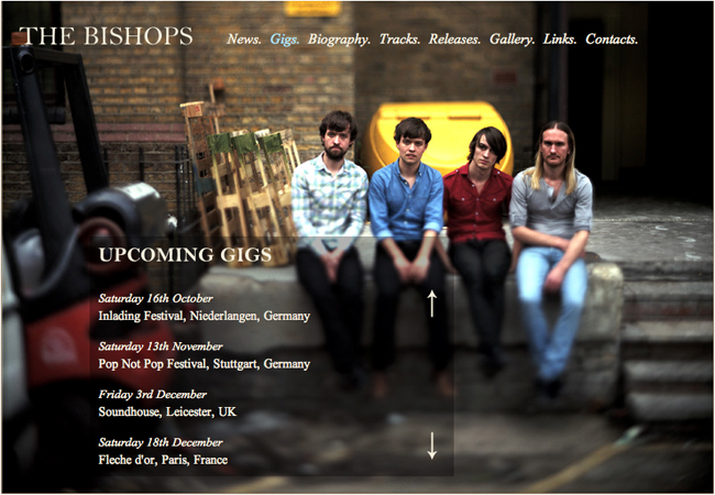 The Bishops website gigs page